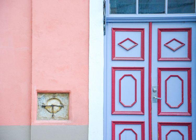 Close-up of closed door of building