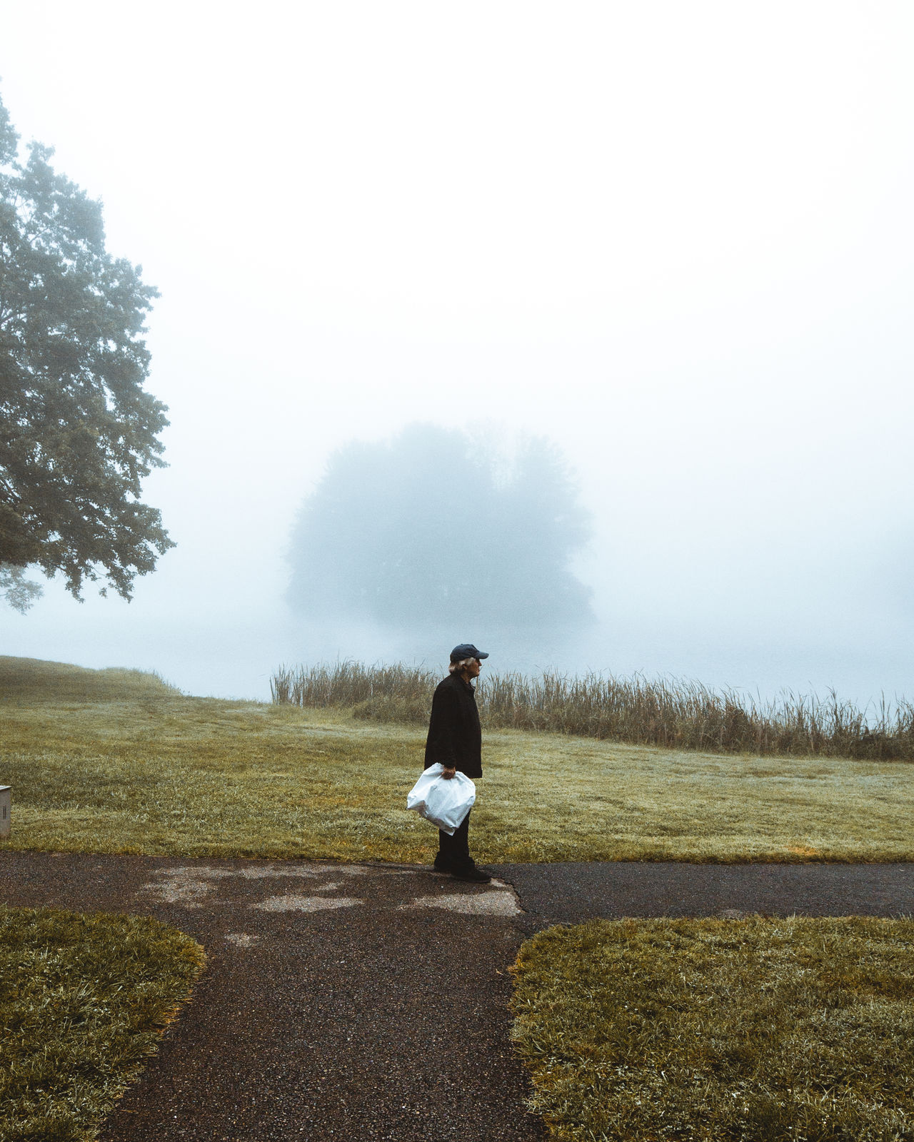 one person, real people, fog, grass, full length