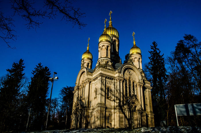 Russian Chapel Church Russian Church Wiesbaden Architecture Building Exterior Built Structure Low Angle View Nature No People Place Of Worship Religion Sky Spirituality Tree