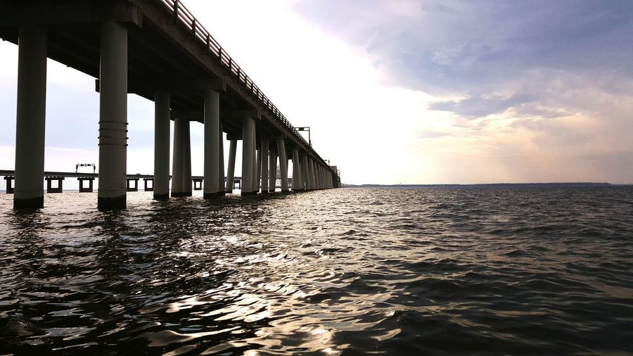 Low Angle View Of Chesapeake Bay Bridge Against Sky During Sunset