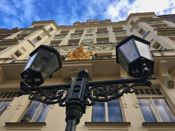 Prague Czech Republic Architecture Blue Building Building Exterior Built Structure City Cloud - Sky Communication Day Lighting Equipment Low Angle View Nature No People Outdoors Residential District Technology Window