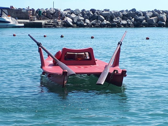 Rescue Boat Safeguard Baywatch Baywatch Boat Red Boat Paddling Boat Water Nautical Vessel Sea Moored Beach Blue Sky Landscape
