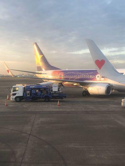 星空ジェットが来た*\(^o^)/* 初めて見れた☆☆ #スカイマーク #SKYMARK Skymark Airlines Skymark Airplane Transportation Air Vehicle Mode Of Transportation Airport Airport Runway Sky