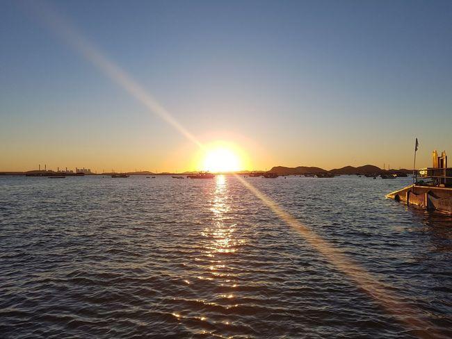 Sunrise on the west sea Sea Horizon Over Water Sun Sky Scenics Beauty In Nature Outdoors Summer Eyeemphotography Harbor Fishing Korea