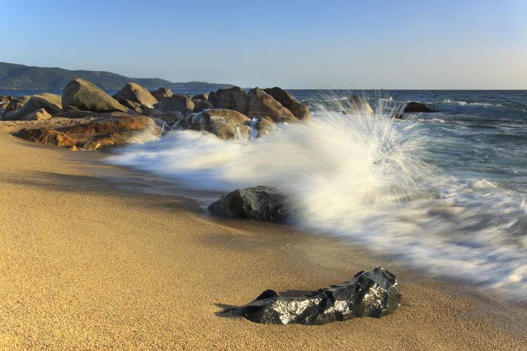 Waves breaking at shore