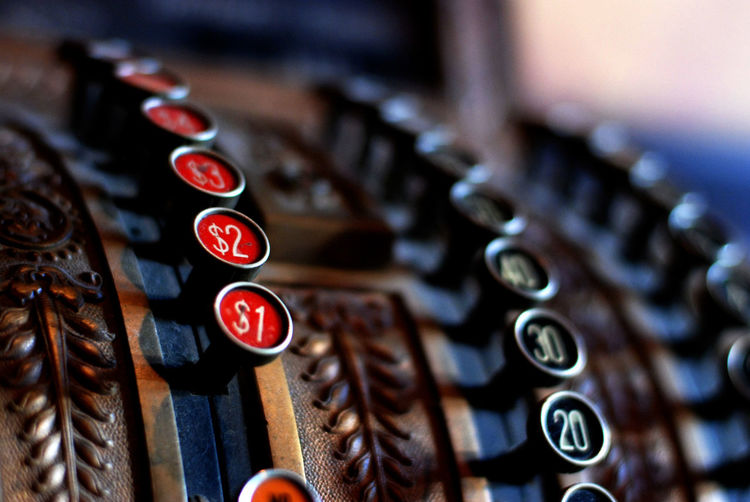 Close-Up Of Old-Fashioned Cash Register