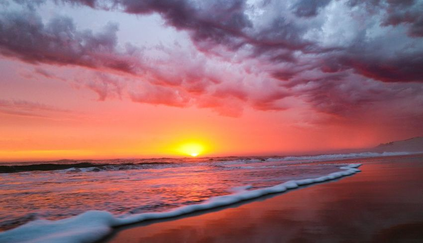 glowing red Water Sea Sunset Red Sun Reflection Dramatic Sky Horizon Orange Color
