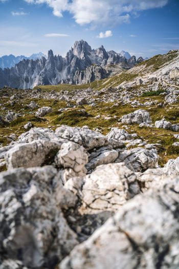 Rocks in mountains against sky