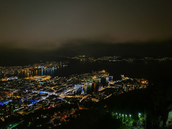 Bergen Bergen,Norway HuaweiP9 Lights Nightphotography Architecture Building Exterior Built Structure City Cityscape High Angle View Huaweiphotography Lights In The Dark Mountain Night Outdoors Sky The Week On EyeEm Lost In The Landscape Perspectives On Nature