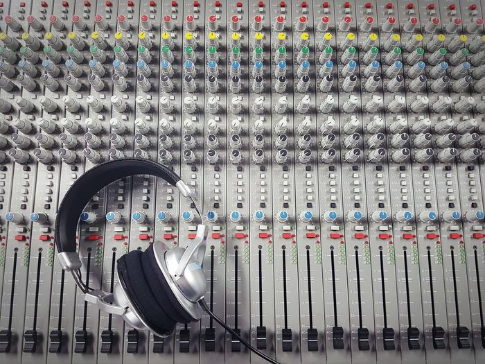 Metal Pattern No People Sound Sound Mixer Technology Headphones Adjust Audio Board Classic Colorful Electronics  Mixer Mixing Music Objects Radio Studio Volume