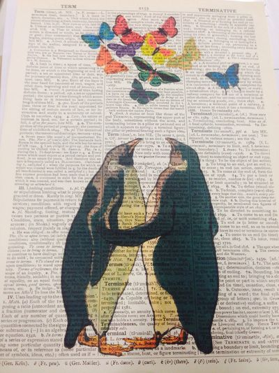 Pingüinos – new ArtWork for my home. Printed on old Book page. <3