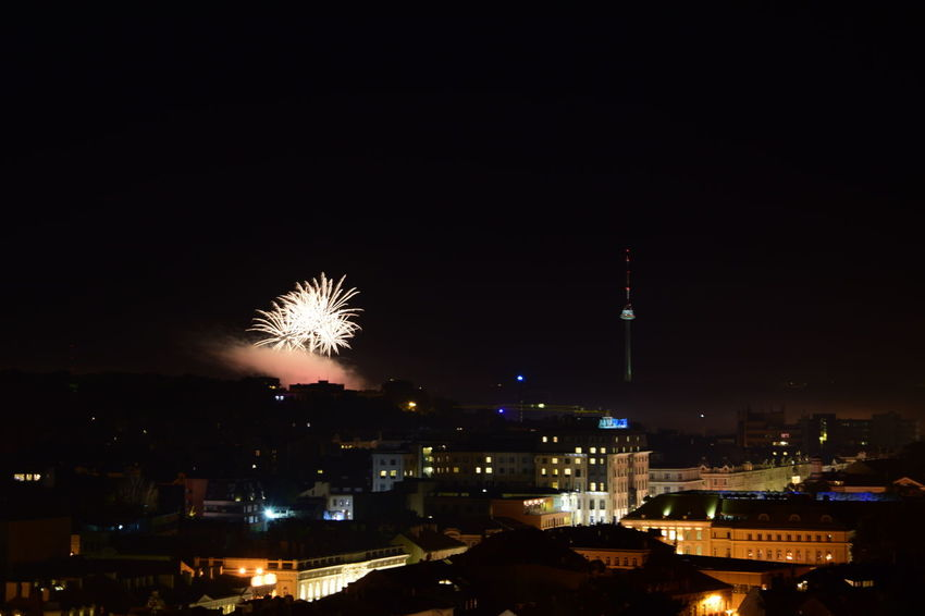 Vilnius Fireworks festival Celebration City City Life Cityscape Dark Entertainment Event Exploding Firework Firework - Man Made Object Firework Display Glowing Illuminated Night Outdoors Sky Sparks Spire  Tourism Tower Travel Destinations Urban Skyline Vilnius Fireworks Festival