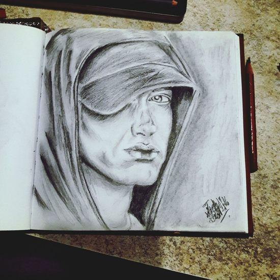 Close-up Selftaught Cretacolor Human Face Drawing Paper Portrait One Person Eminem ♥ Eminem Draw Art Pencil Night Eminemportrait Marshall Mathers