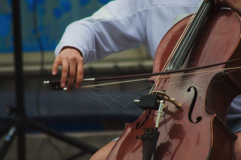Close-up of person playing violin