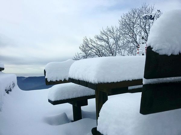 Have a seat. Outdoors Beauty In Nature Landscape Tranquility Winter Cloud - Sky Snow Bench Benches Scenics White