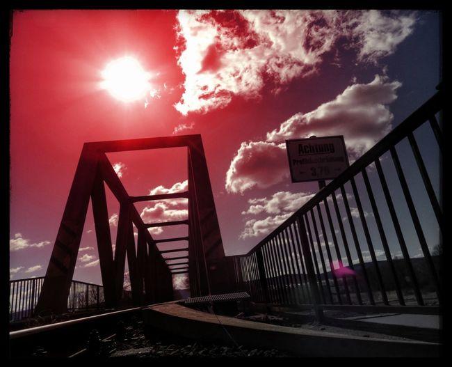 Red Railroad Bridge Red Sun Sky Bridge Railroad Bridge Effects & Filters Weekend Hüpapics Kunst Ist Was Du Daraus Machst EyeEm Best Shots Hille Pentax Gleise Railroadphotography Colorful Farbenspiel Schilder