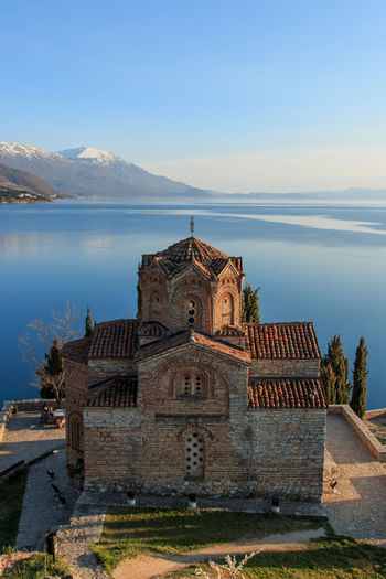 Church of st john kaneo by lake ohrid against sky