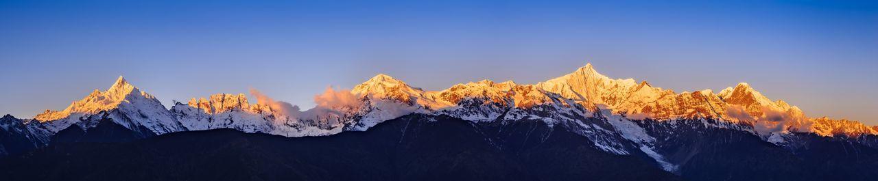 日照金山 Yunnan ,China China Snow Landscape Landscape_Collection Mountain Mountain Range Sky Cold Temperature Sun Sunrise Golden Hour