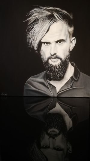 Tomasz Organek - acrylic portrait 30cm x30cm 4cm deep canvas Square Blackandwhite Acrylic Painting Hand Painted Art ArtWork Acrylic Art Tomasz Organek Black Background Portrait Men Human Face Beard Fine Art Portrait