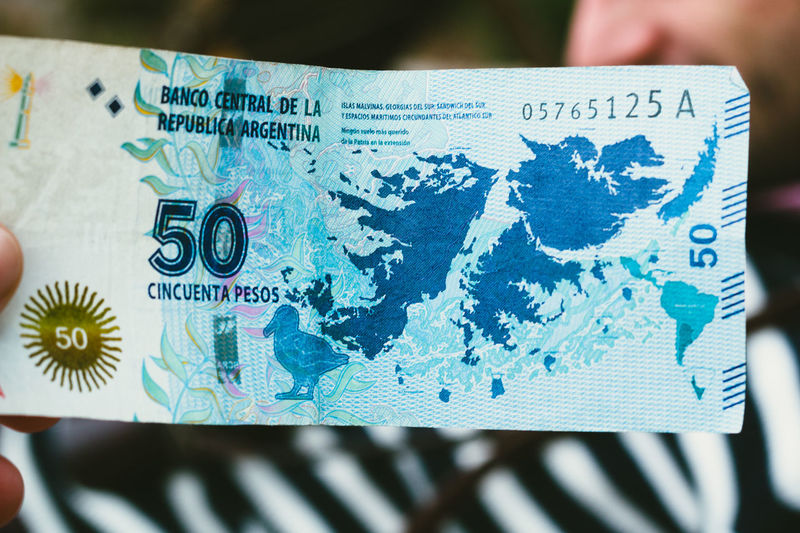 50 Argentina Argentine Pesos Blue Close-up Communication Currency Faulklands Islands Islas Malvinas Malvinas Money Note Pesos Political Text Western Script