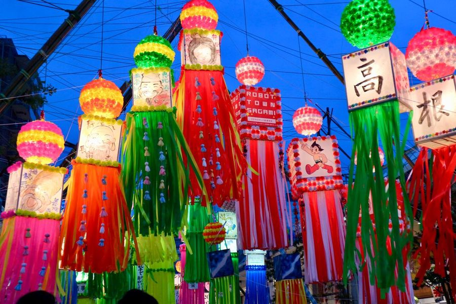 Tanabata Lamp Festival Japan Festival Tanabata Festival Japan Lantern Multi Colored Hanging Decoration No People Celebration Low Angle View Choice Market Day Variation Art And Craft Lighting Equipment Architecture Lantern Built Structure Chinese Lantern EyeEmNewHere