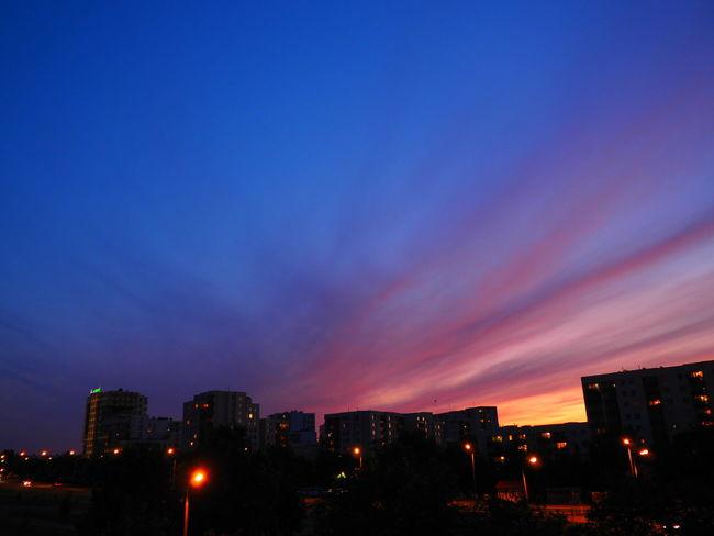 Illuminated Urban Skyline City Cityscape Sky Sunset Polska Poland Warsaw Warszawa  Ursynow