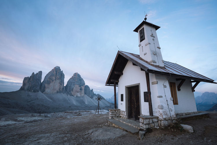 Check out my prints at https://simonmigaj.com/shop/ and visit my IG http://www.instagram.com/simonmigaj for more inspirational photography from around the world. Architecture Built Structure Sky Building Building Exterior Religion Mountain Nature No People Day Cloud - Sky Landscape Outdoors Dolomites Alps Tre Cime Di Lavaredo Tre Cime Travel Background Mood