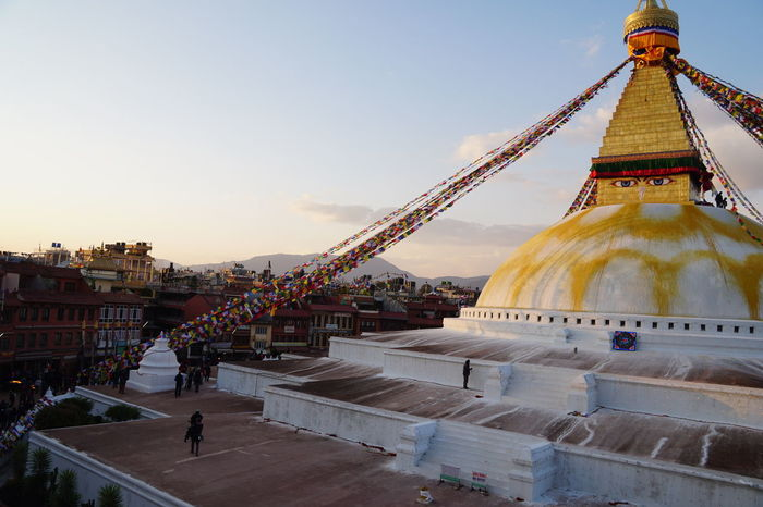 Boudhanath Stupa Nepal Architecture Belief Bouddha  Bouddhanath Building Building Exterior Built Structure City Clear Sky Day Incidental People Nature Outdoors Place Of Worship Religion Sky Spirituality Tourism Travel Travel Destinations