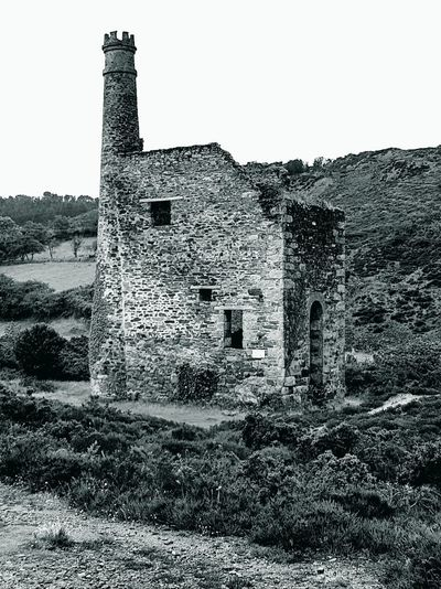 Built Structure History Architecture Building Exterior Outdoors No People Sky Day Old Ruin Cornish Tin Mine Black And White Photography