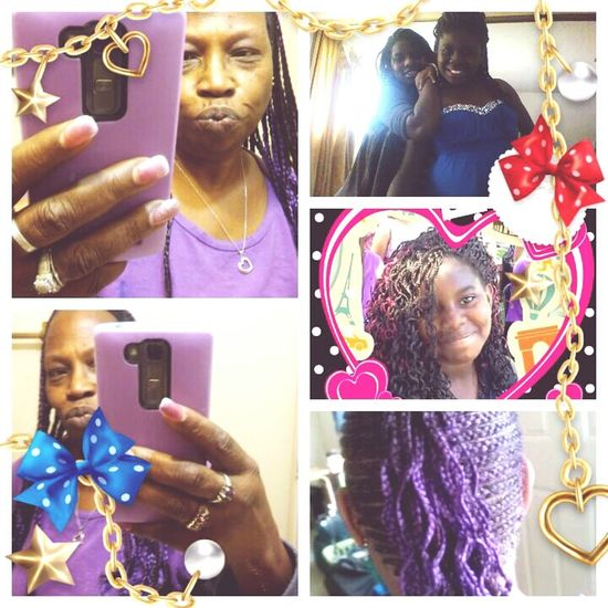 2 of my many granddaughters, 1st cousins, Shai-Shai & Leanna Washington in braids! And me, in my purple braids! Taking Photos Family❤ Mom's Memories That's Me Cousins ❤ My Granddaughters Braids :) Cornrows Purple Hair Purple ♥ Check This Out Taking Photos