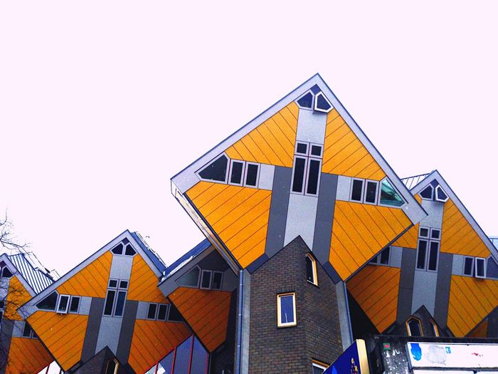 Cube Flats Lofts,living,imagination,creative,architecture,holland,Rotterdam Sky Cityscape Clear Sky Yellow Roof The Graphic City