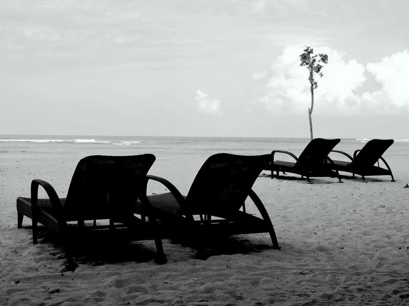 Ocean Beach Blackandwhite Photography Deck Chairs No People Outdoors Relaxation Shore Tranquil Scene Vacations