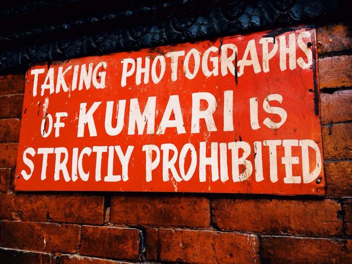 Nepal Kumari Living Goddess Kathmandu Kathmandu, Nepal Sign Signs Local Sign Travel Travelling