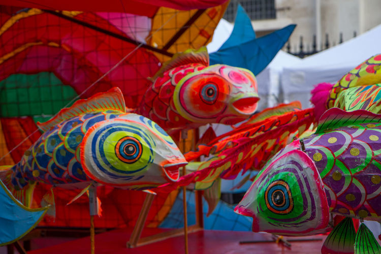Close-Up Of Colorful Kites