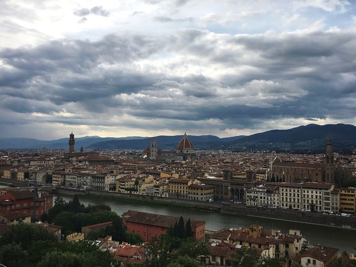 Architecture River City Sky Landscape Italy Cityscapes Town Panorama Firenze Cityscape Florence Mountain Dramatic Sky Viewpoint No People Cloud - Sky Built Structure Bridge - Man Made Structure