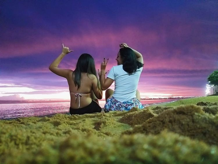 Moments Of Happiness Friendship Young Women Togetherness Smiling Sunset Beach Happiness Women Summer Cheerful