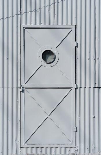 Directly below shot of closed door