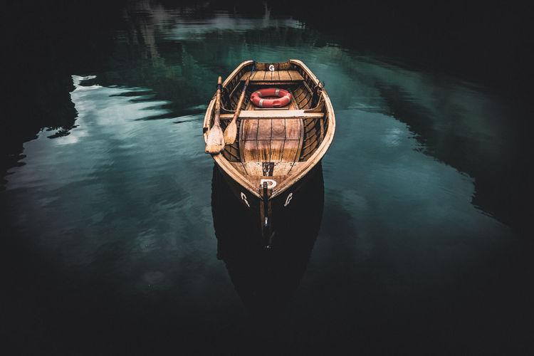 Portrait of a boat in braies lake