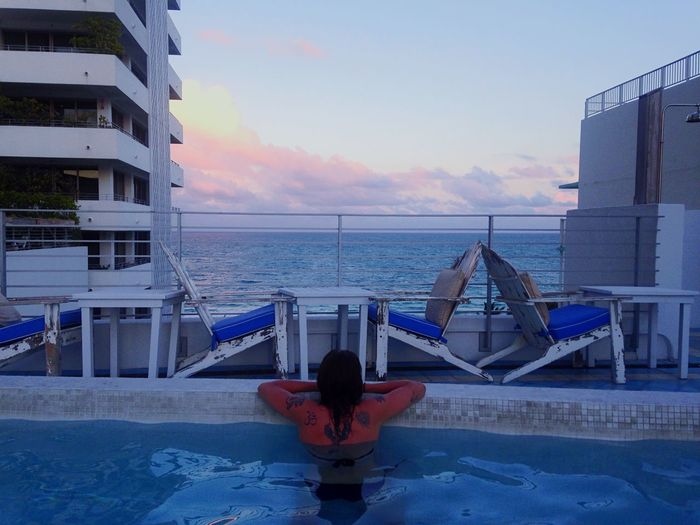 Going to miss her when I go back home. Sunset Swimming Rooftop Pool Ocean Open Edit