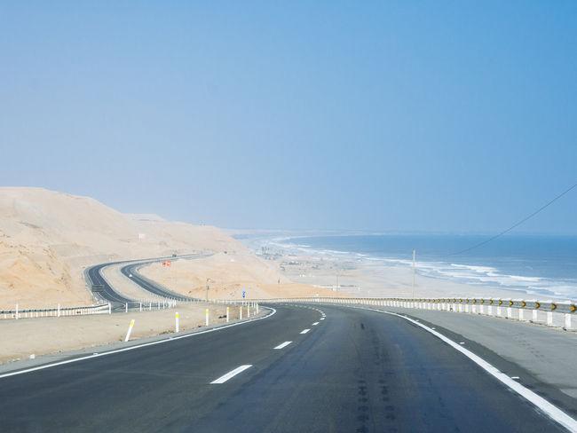 Panamericana Asphalt Clear Sky Curve Dividing Line Highway Landscape No People Panamericana Peru Road The Way Forward Transportation Winding Road