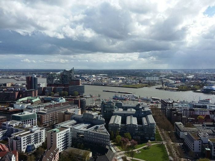 View over Hamburg I. · Germany 040 Hamburgmeineperle Hamburg Harbour From The Michel Vom Michel Elbe Elbe River Elbphilharmonie Cityscapes Roofs Of Hamburg Architecture Urban Landscape Clouds And Sky Peace ✌