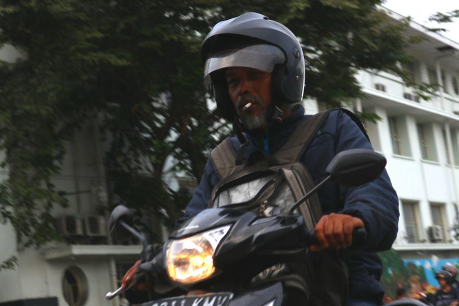 Grandpa smoking while riding his motorcycle First Eyeem Photo