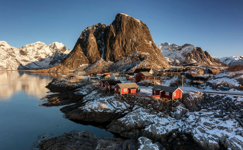 Morning in Hamnøy Long Exposure Shot Morning Light Norway Beauty In Nature Clear Sky Cold Temperature Day Hamnøy Lofoten Mountain Mountain Range Nature No People Non-urban Scene Outdoors Rock Rock - Object Scenics - Nature Sky Snow Snowcapped Mountain Tranquil Scene Tranquility Water Winter