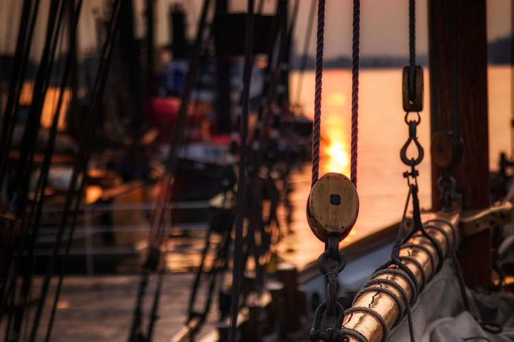 Pulley on boat during sunset
