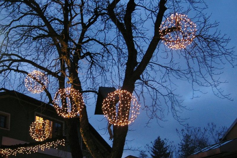 Adventsdeko in Lienz, Austria Illuminated Low Angle View Lighting Equipment Tree Bare Tree No People Built Structure Christmas Lights Sky Branch Building Exterior Christmas Decoration Architecture Night Outdoors Christmas Ornament