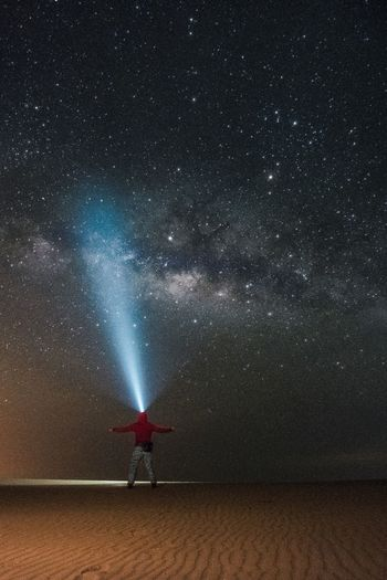 Lost In The Landscape Astronomy Beauty In Nature Galaxy Nature Night One Person Outdoors People Sky Space Star - Space See The Light