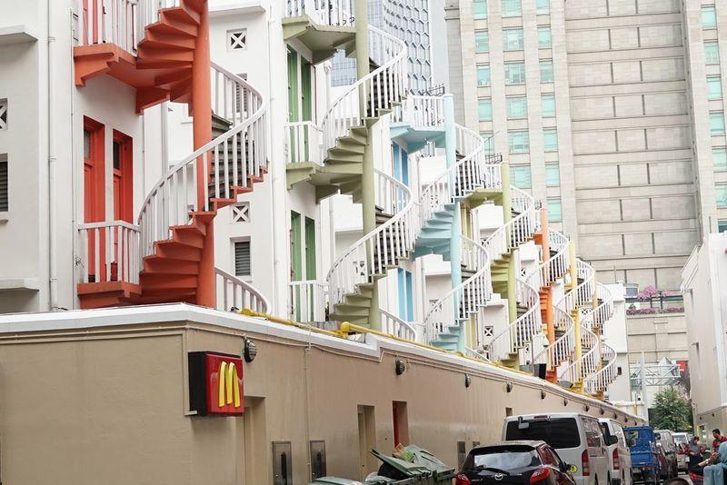Building Exterior Multi Colored City Architecture Built Structure Escalier