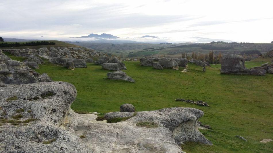 Natural Beauty Rock Formation Green Grass Beauty In Nature Misty Sky Porn Elephant Rocks New Zealand