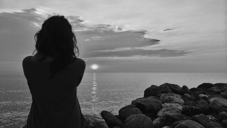 Sad Beach Black And White Coastline Enjoyment Escapism Getting Away From It All Greece Horizon Over Water Light Ocean Outdoors Sand Scenics Sea Shore Sky Sunrise Tranquil Scene Tranquility Vacations Water Wave Woman Telling Stories Differently