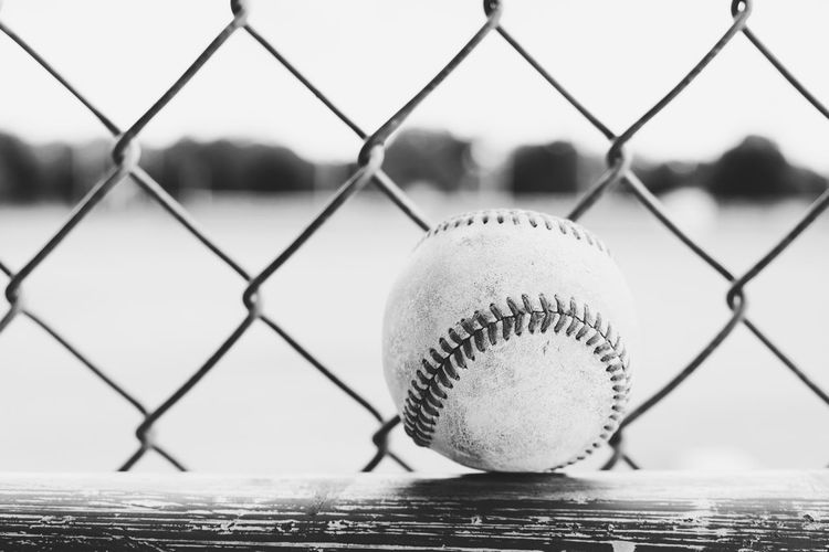 Close-up of ball on chainlink fence
